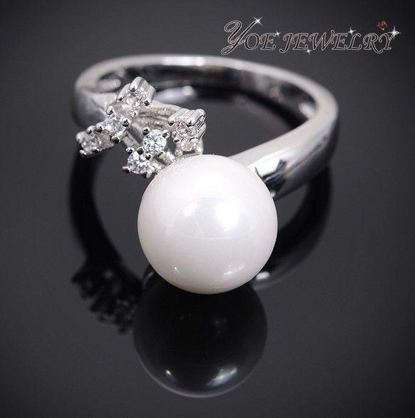 Новый бренд покрынная платина элегантные оболочки жемчужина кольцо роскошные австрия кристалл обручальные кольца для женщин пара перл мода ювелирные изделия.