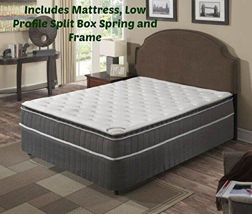 continental sleep pillow top pocketed coil orthopedic mattress and semi flex box spring with framequenn size beige