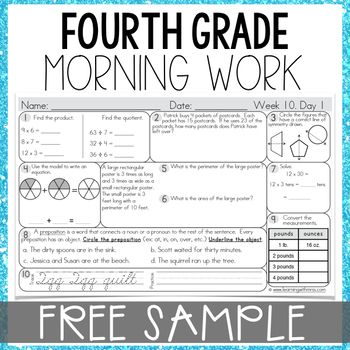 Looking for a way to SPIRAL REVIEW all 4th grade math standards? Morning Math Work is an excellent way for students to build a strong morning routine. This Morning Work resource includes math, grammar, and cursive practice. Click download to view 3 FREE weeks.