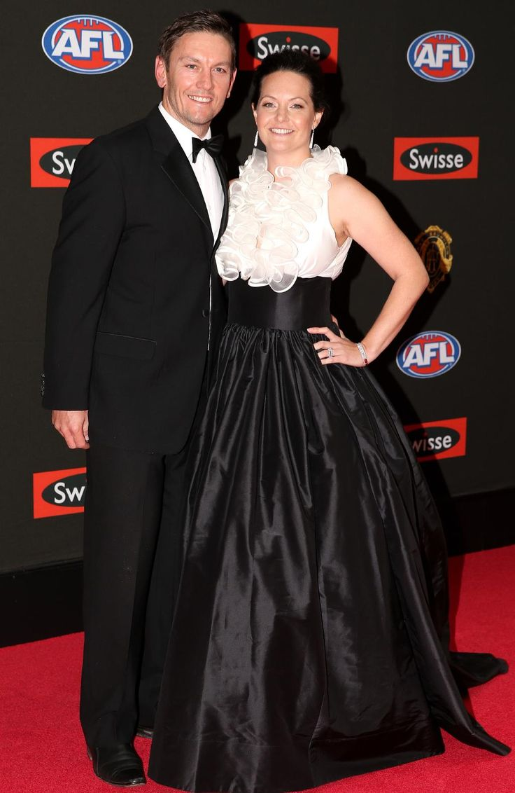 Shane and Deanne Woewodin arrive on the red carpet for the 2015 AFL Brownlow Medal presentation held at Crown Casino on Monday, September 28, 2015, in Melbourne, Victoria, Australia. Picture: Tim Carrafa