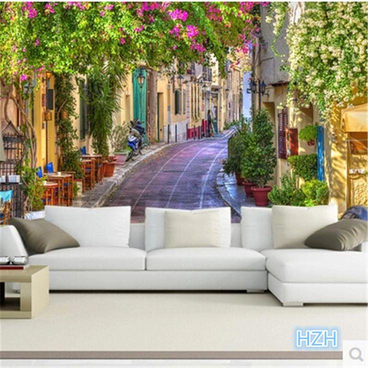 Фото обои На Заказ 3D Континентальный городского пейзажа диван стены бумажные цветы пейзаж расширяет пространство спальни настенные росписи обоев купить на AliExpress