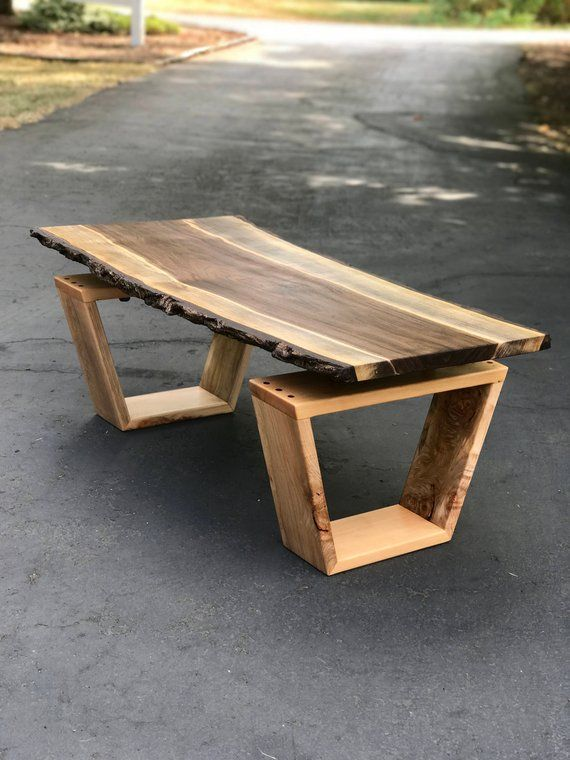 SOLD – Live Edge Coffee Table, Black Walnut and Maple Coffee Table, Floating Slab Coffee Table, Modern Live Edge Furniture