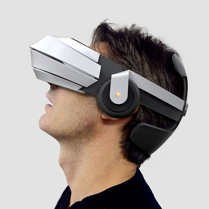 Design of brand new VR Glasses with integrated audio system, independent screens with high refreshing rate and low persistence, double HD cameras for augmented reality and even 3d recording. A great immersion for 3d video games, 3d movies, augmented reality or telepresence. The glasses have been designed with elastic structured fabric band that connects the back and