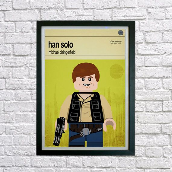 This is a stylish framed poster print of the Lego Star Wars Han Solo, perfect for Star Wars lovers of all ages. Hand drawn with a graphics tablet and pen this print is styled with typography and features the actor who voiced Lego Han Solo in the game and the character's abilities.