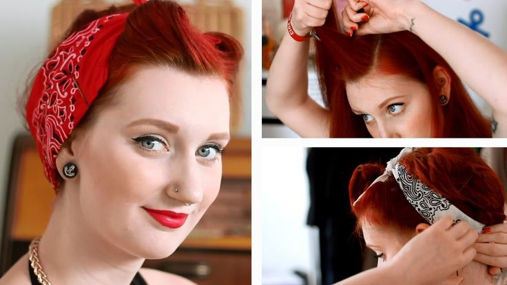 Pinup Bandana Hairstyle Tutorial | Fake Victory Rolls Tutorial ...