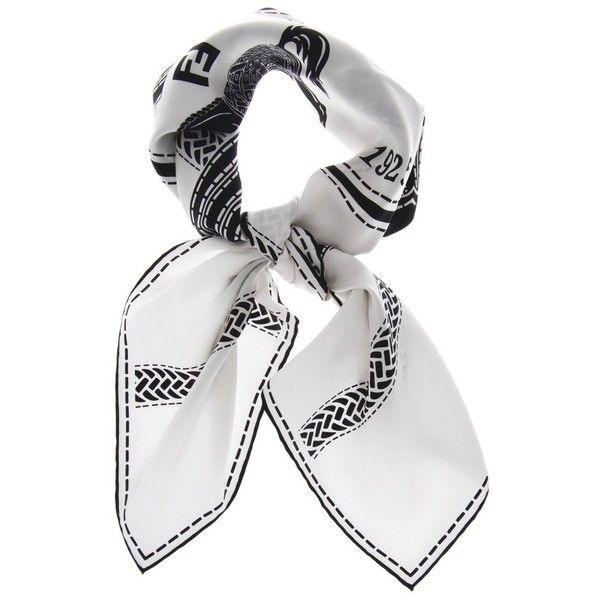 FENDI SELLERIA Black White Silk Woman Scarf ($336) ❤ liked on Polyvore featuring accessories, scarves, patterned scarves, fendi scarves, pure silk scarves, logo scarves and print scarves
