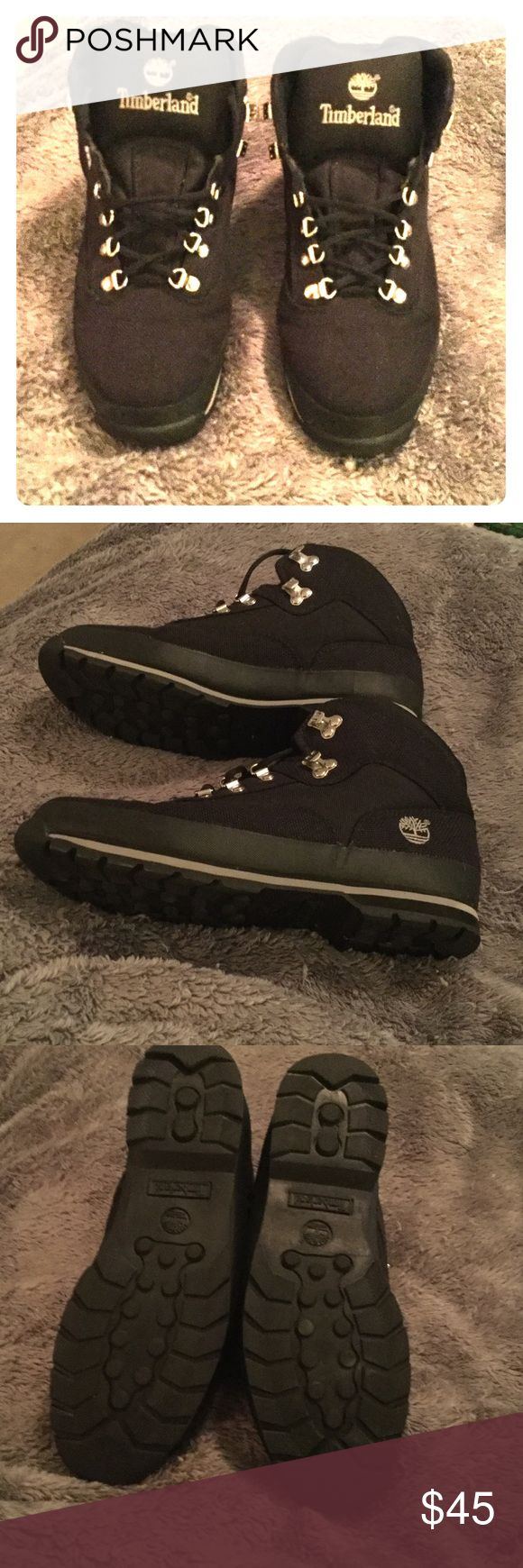 Timberland Black/Gray Euro Hikers size 13W NWOT!!! Timberland Euro Hiker boots. Cloth/waterproof. New w/SensorFlex™ outsole technology 100% polyester jacquard upper, lightweight support, waterproof,Laces made from PET. Timberland Shoes Boots