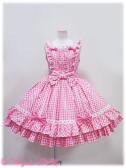 """""""Angelic Pretty - Mary Gingham JSK (2012) in Pink and Yellow """""""