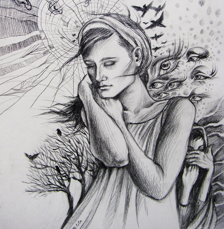 Alone girl pencil by lida moamaee