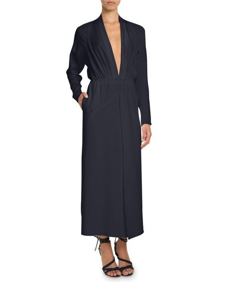 Plunging Long-Sleeve Ankle-Length Silk Dress