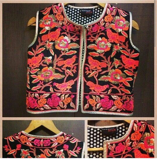 Black koti with orange and pink threadwork and gota patti