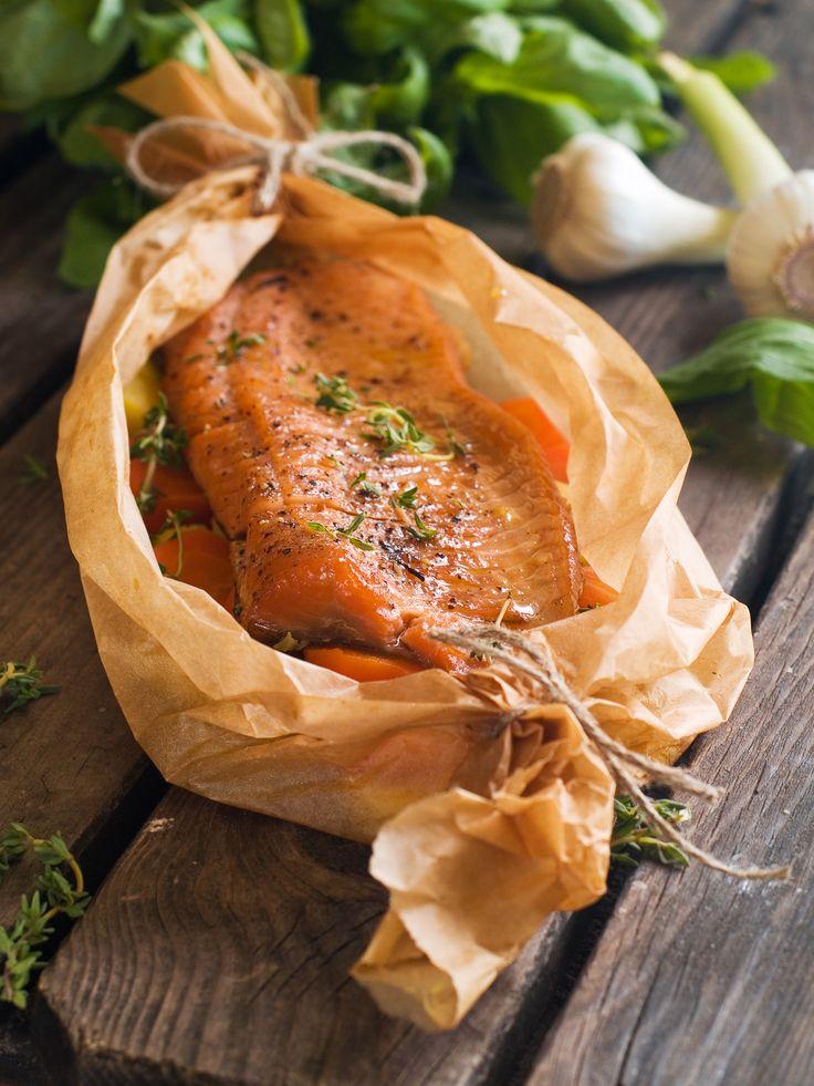 Leivinpaperi toimii myös esillelaitossa. Uunilohen reseptin löydät täältä: http://www.eskimofinland.fi/resepti/lohifile-leivinpaperikaarossa