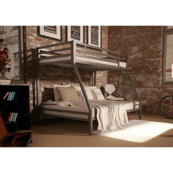 Metal Bunk Beds Twin Over Full Frame Double KidsTeens Girls Boys Bedroom Ladder #YourZone