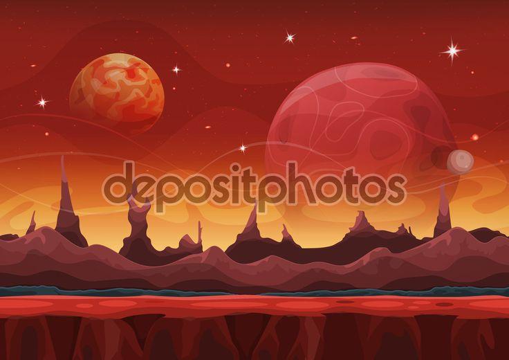 Fantasía ciencia ficción marciana fondo para juego de interfaz de usuario — Ilustración de stock #72158679