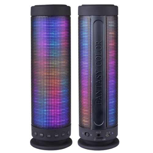 Color Dancing Portable Bluetooth Speaker (9.25 Tall) w/LED Visual Equalizer 3.5mm Audio Input & microSDHC Card Slot