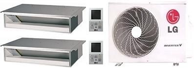 Dual Zone Mini Split Air Conditioner System with 18000 BTU Cooling Capacity 2 Indoor Units and Outdoor Unit