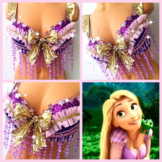 Tangled Rapunzel Rave Bra by TheLoveShackk on Etsy