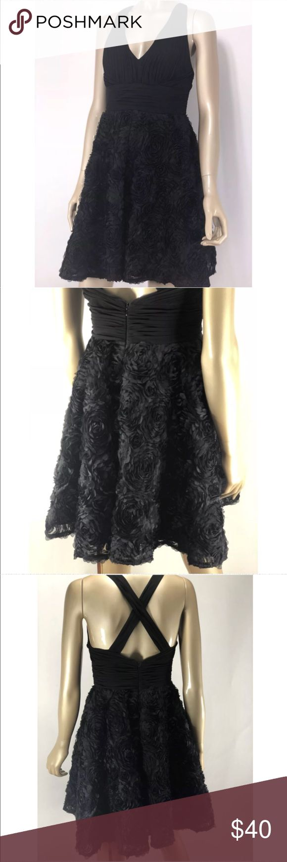Aidan Mattox black floral mini dress size 4 Aidan Mattox black floral pleated mini dress in women's size 4 - Measurements : (All measurements are taken with the item laying flat)  15' Chest 13' Waist 35' Length    Excellent Used Condition - No holes, rips, stains, or other noticeable wear. Aidan Mattox Dresses Mini