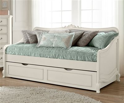 Kensington White Finish Elizabeth Daybed with Trundle 20040 | NE Kids Furniture | Girls Bedroom Furniture
