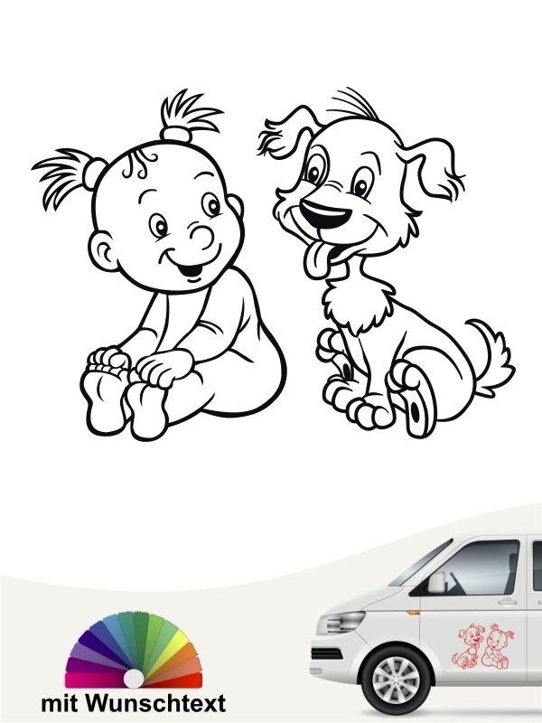 Baby Hund Dog Kind Mädchen Girl Auto Klein Wunschtext