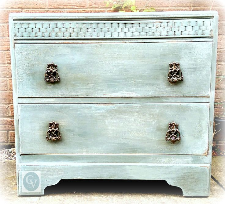 CHICLY VINTAGE RESTORATION: c 1940's solid wood chest, painted in Duck Egg Blue, with craqeuleur glazed areas, dry paint highlights and abrasive distressing.