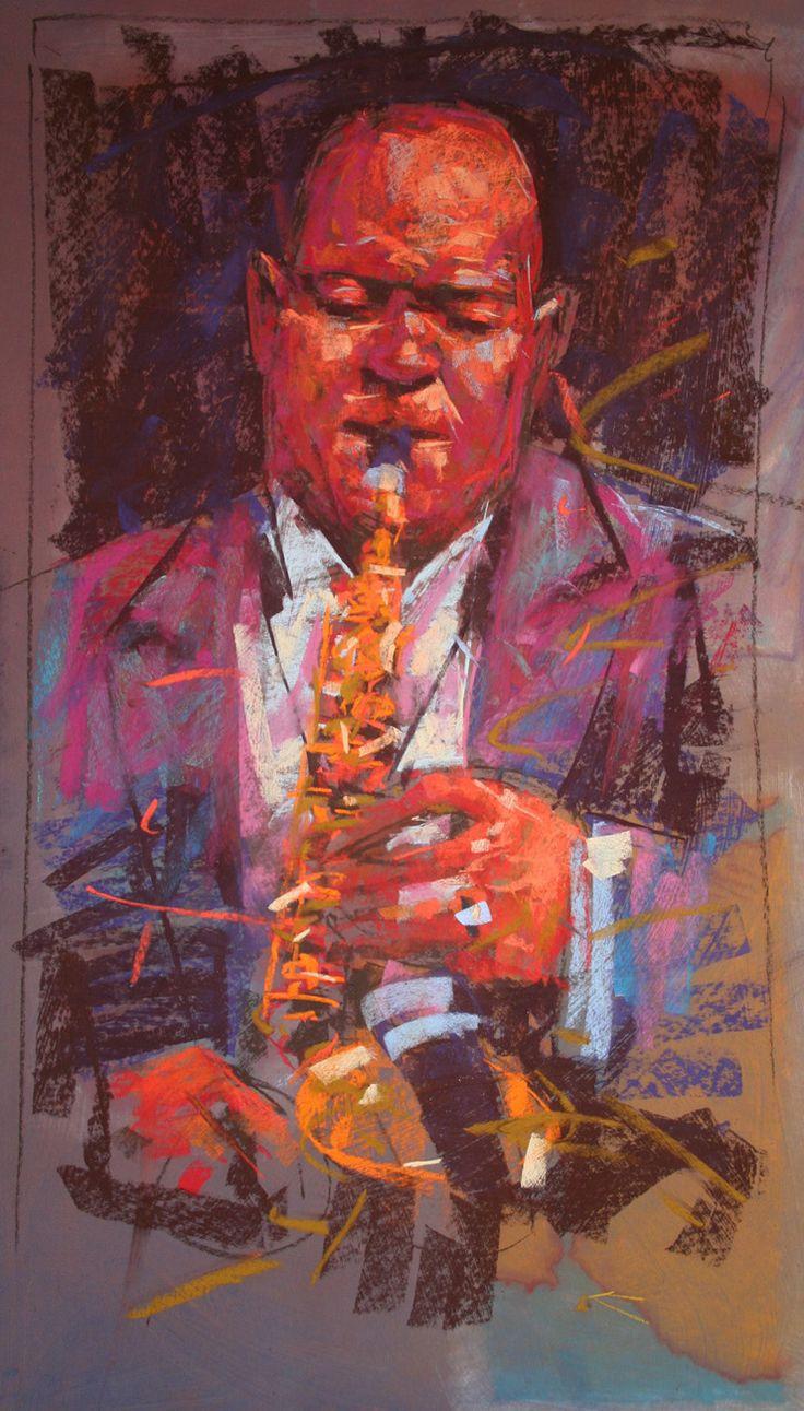 Musician - Jazz 3 chalk pastel By Jamel Akib