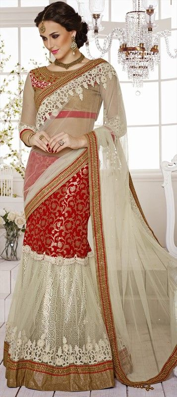152461, Lehngas Style Sarees, Net, Satin, Jacquard, Banarasi, Art Silk, Border, Lace, Stone, Patch, Zari, Red and Maroon, White and Off White Color Family