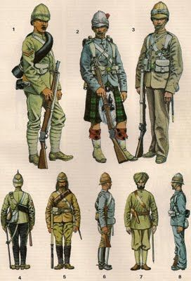Suakin Field force 1884-85 No.1 – Corporal 1st York and Lancaster .  No. 2 - Private of the Black Watch 1884 in Serge Grey. No.3 – Private of the 3rd Grenadier Guards in his 'English' khaki.  No. 4 – Sergeant of the 10th Hussars, from Indian Service No. 5 – Mounted Infantryman with spurs.  No. 6 – A private of the 19th Hussars No.7 – Indian Officer of the 15th Sikhs No. 8 – Royal Marines Light Infantry  Military Modelling Dec 84