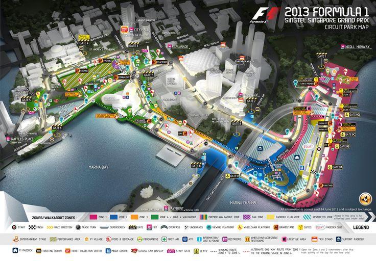 Singapore F1 Circuit Park Map - Singapore Grand Prix