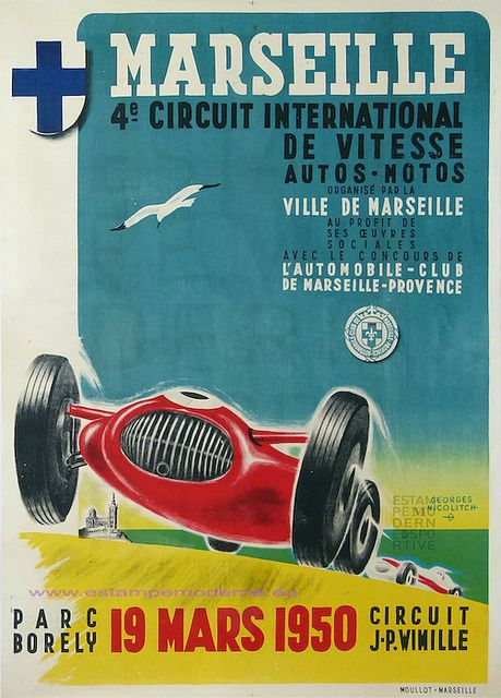Nicolitch 4eme Circuit International de Vitesse Autos-Motos 1950 Marseille Parc Borely 117X169 by estampemoderne, via Flickr