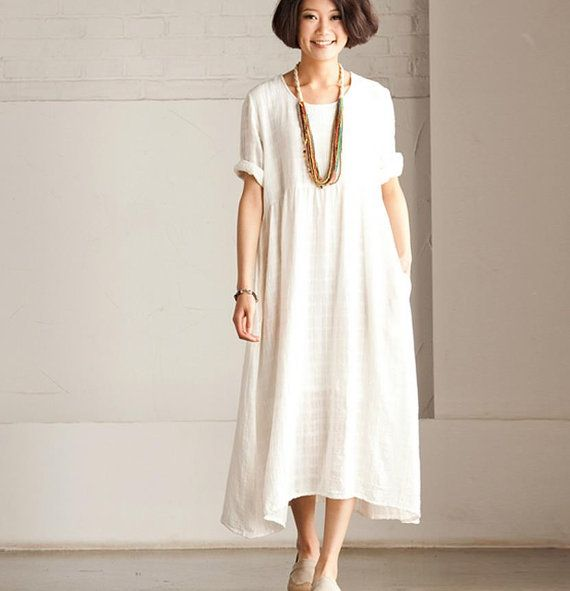 Summer Linen Angle White Dress -Maxi Dress Loose Cotton Tops Short Sleeve Leisure Blouse - Women's Dress- Women Clothing Q155A