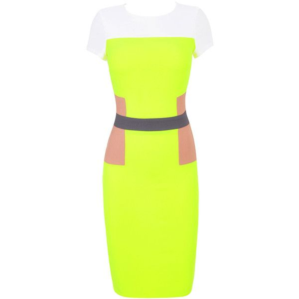 'Paloma' Neon Green Nude Panelled Pencil Dress (955 CNY) ❤ liked on Polyvore featuring dresses, neon green dress, lime dress, pencil dresses, green color dress and lime green dresses