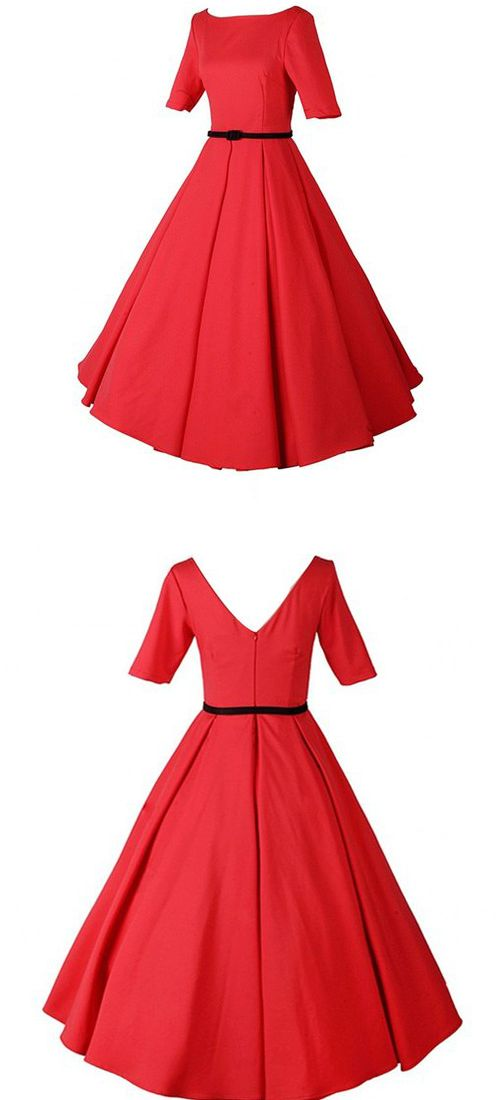 HONGYUTING WOMEN VINTAGE 1950S ROCKABILLY SLEEVELESS KNEE LENGTH PARTY DRESSES---------- Colors: Red----------- Sizes Available : Small,Medium,Large,XX Large----------- 97% Cotton, 3% Elastane VINTAGE Prom DRESS----------- Elegant,Classy and Beautiful Dress ideal for Party, Casual ,Everyday and Work Wear during Summers/Spring of 2016----------- Designer----------- Can be worn by teens and adults --------------