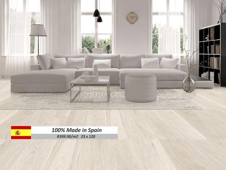 New range of 23×120 wood look porcealin tiles from spain Kenia white23×120 Made in Spain R399.90/m2