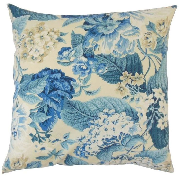 """The Pillow Collection 20"""" Square Xaviera Floral Throw Pillow - P20-WAV-678282-SNSGARDENGLORY-PORCELAIN-P100"""