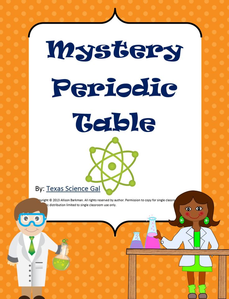 Freebie! This is a puzzle that encompasses much of what is learned in middle school and high school about the periodic table including energy levels, the different families and groups, along with other specific traits of different elements.