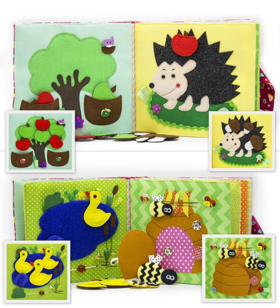Quiet active book made of cloth is recommended for children from 1 year old. The book has a bag for storage and easy transportation. It consists of 7