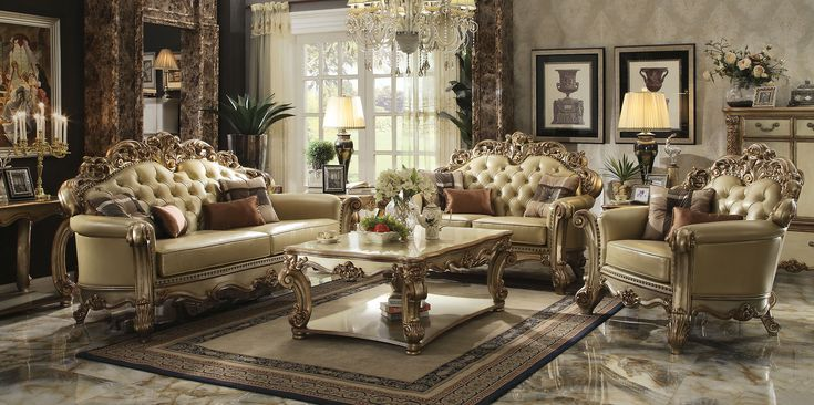 Jenna Traditional Living Room Set with Rolled Arms (3 Pcs Set ...