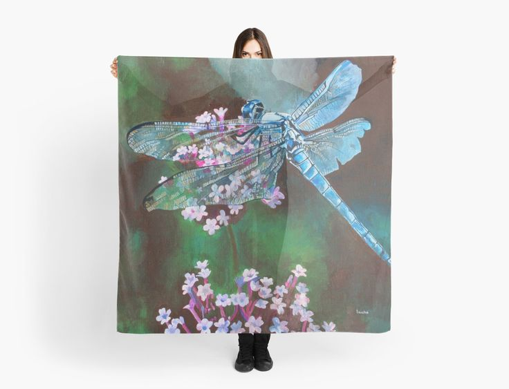 "Blue Dragonfly by taiche ""Blue Dragonfly"" Scarves by taiche 