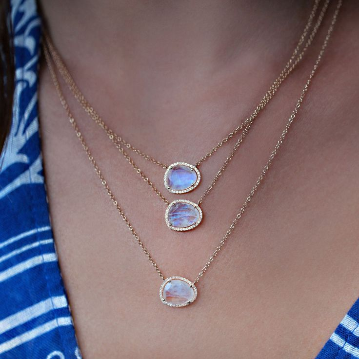 14kt gold and diamond free form moonstone necklace – Luna Skye by Samantha Conn. Isn't this gorgeous