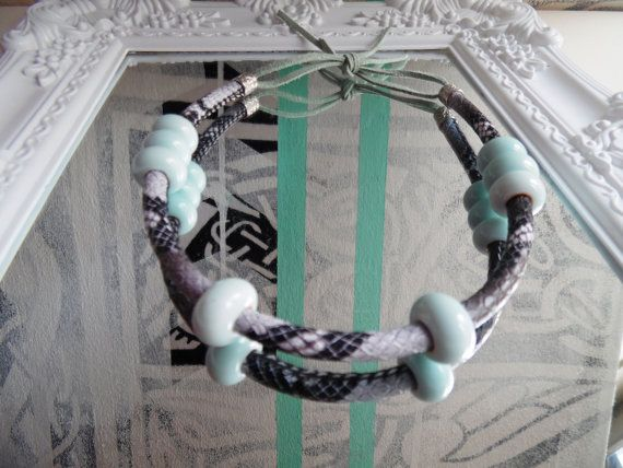 2 in 1 -snake choke necklase or wrap bracelet  with porcelain beads , grey & babyblue, +box