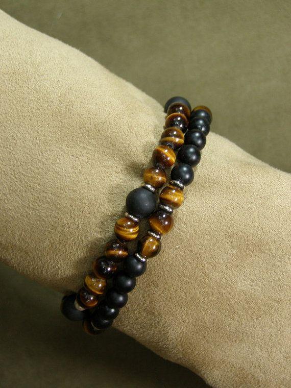 Bracelet for Men Mens Beaded Bracelet Tiger por StoneWearDesigns