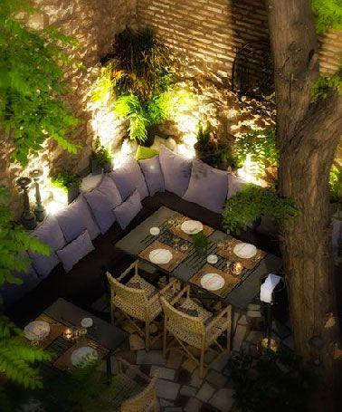 Eclairage table de jardin sur terrasse cocooning