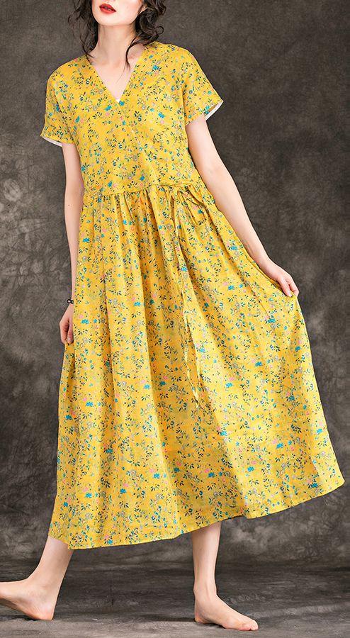 Frauen gelb floral Leinen Kleid Top-Qualität Design V-Ausschnitt Krawatte Taille Baumwolle Sommerkleid