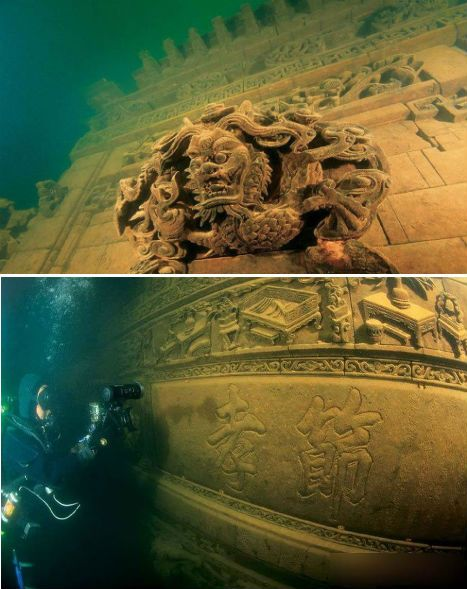 China's submerged Lion City may be the most spectacular underwater ruins of the world, at least until more of Alexandria is explored. It's located about 85-131 feet beneath the surface of Thousand Island Lake (Qiandao Lake), in an area that was intentionally flooded in the 1950s to create a dam. Lion City (Shi Cheng) was built during the Eastern Han Dynasty (25-200 CE) and measures about 62 football fields in area.