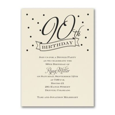 Celebrate a milestone 90th birthday with this classy confetti birthday invitation. Personalize this ecru card by choosing the design color to match your style.
