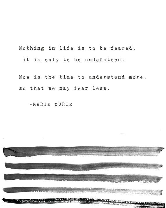 """Riverwaystudios Print: Marie Curie / """"Nothing in life is to be feared, it is only to be understood. Now is the time to understand more, so that we may fear less."""""""