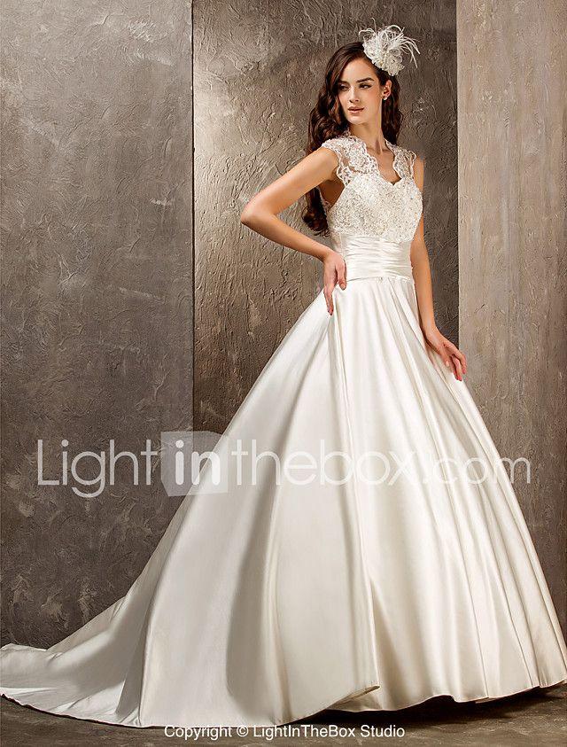 LAN TING BRIDE Linia -A Prințesă Rochie de mireasă - Elegant & Luxos Glam & Dramă Vezi Prin Mătura / Trenă Regina Anne Dantelă Satin cu 2017 - $179.99