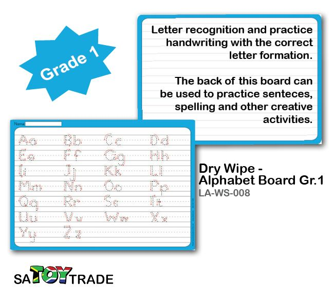 Learn the Alphabet required of a grade 1 student. A great product to exercises extra alphabet and handwriting at home or in the classroom. Only use a whiteboard maker to fill in all the answers, for easy clean and reuse. Activities include letter recognition and practise handwriting with the correct letter formation. The back of this board can be used to practise sentences, spelling and other creative activities. Develops fine motor skills, handwriting, alphabet, concentration and thinking.