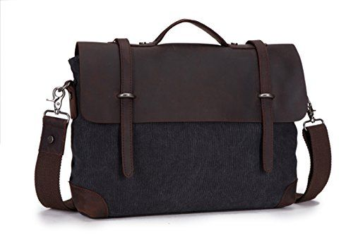 DoubleMay Herren Männer Vintage Retro Canvas Leder Aktentasche Messenger Bag   Business Bag  Umhängetasche   Laptop Tasche   Handtaschen ideal für Studium Büro oder Freizeit Outdoor (Schwarz)